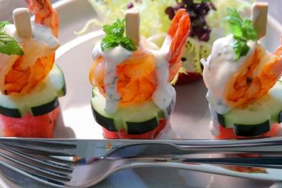 Garnele mit Melone und Minze-Joghurt
